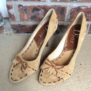 Christian Dior Heels Moccasin Look Size 39 US 7